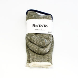 Rototo double face socks army green-01
