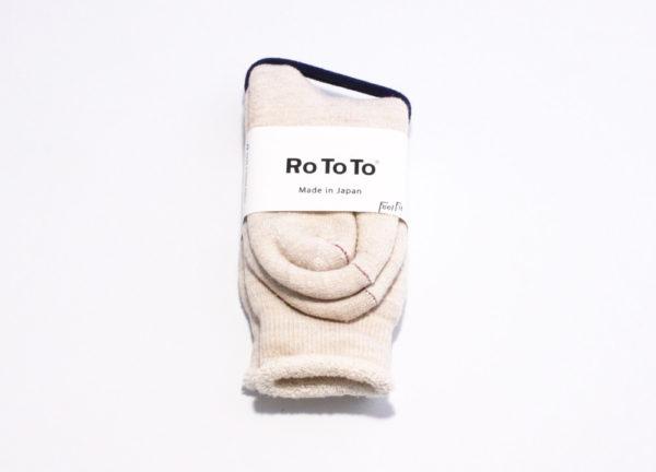 Rototo double face socks oatmeal 01