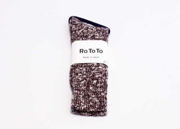 Rototo low gauge slub crew socks burgundy 01
