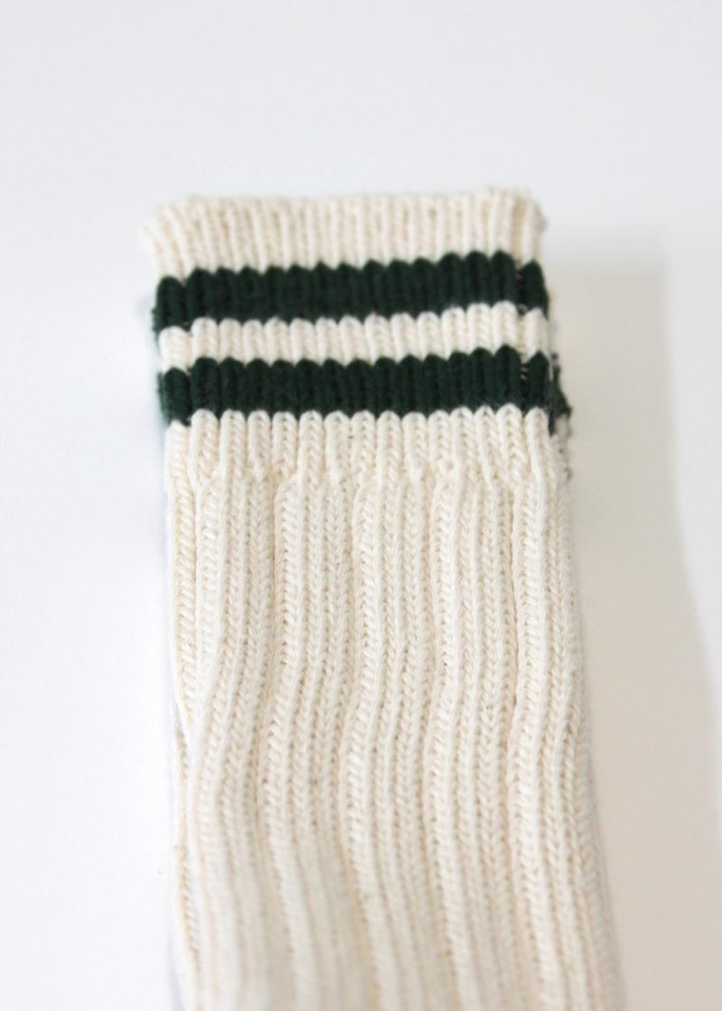 Rototo-LowRawSocks-2 Stripes-Ecru-Green2