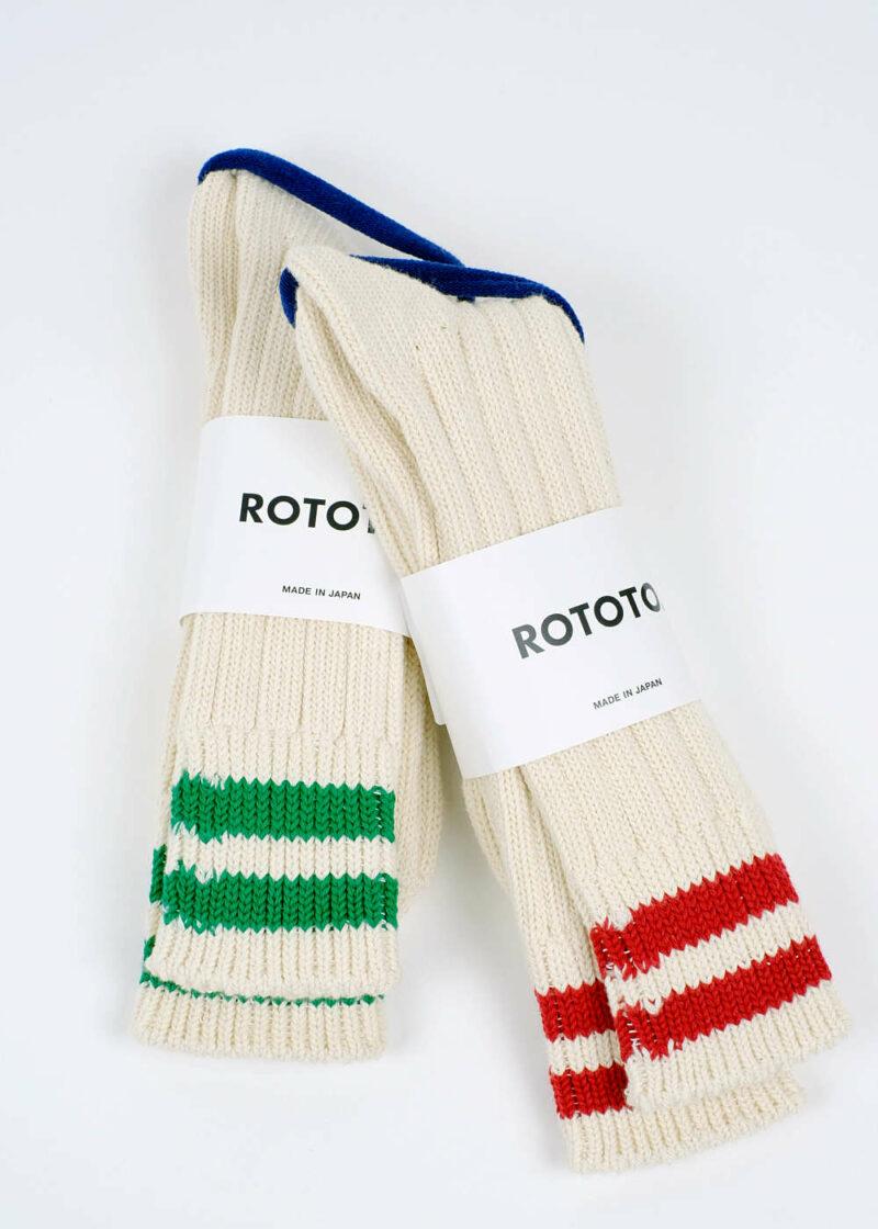 Rototo-LowRawSocks-2 Stripes-Ecru-M.Green-All
