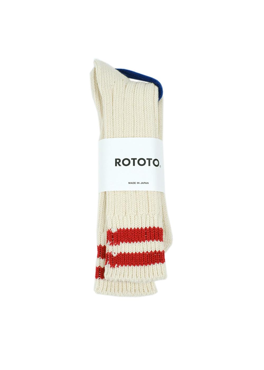Rototo-LowRawSocks-2 Stripes-Ecru-Red1