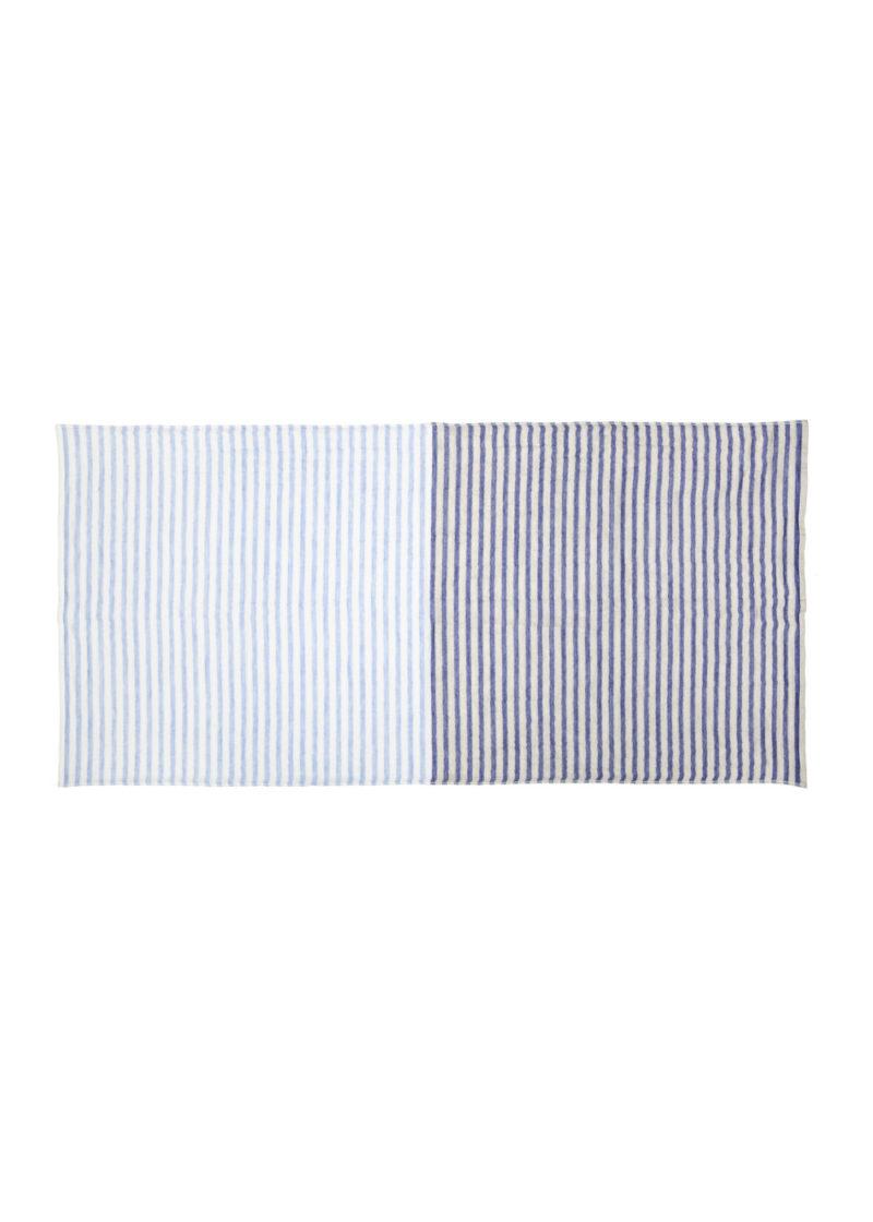 YoshiiTowel-5TreesLinenBorder-BathTowel-L.blue-Blue