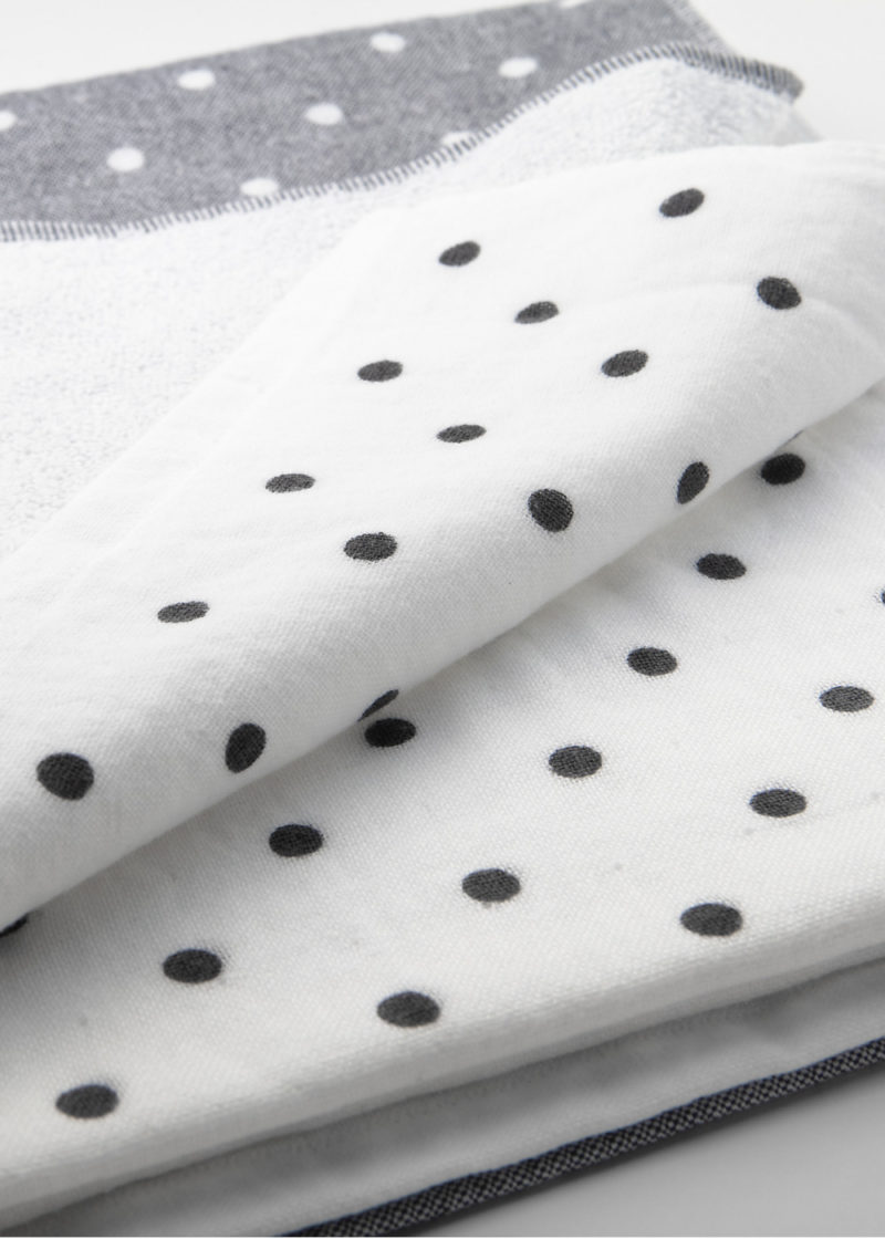 YoshiiTowel-5TreesPolkaDot-White-Gray-Up