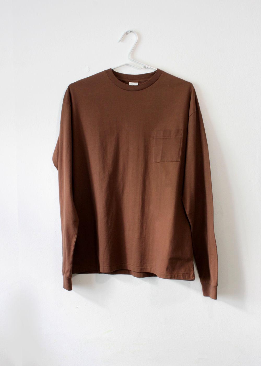 CTheHadagi-Crew-Neck-Long-Sleeve-T-shirts-Brown