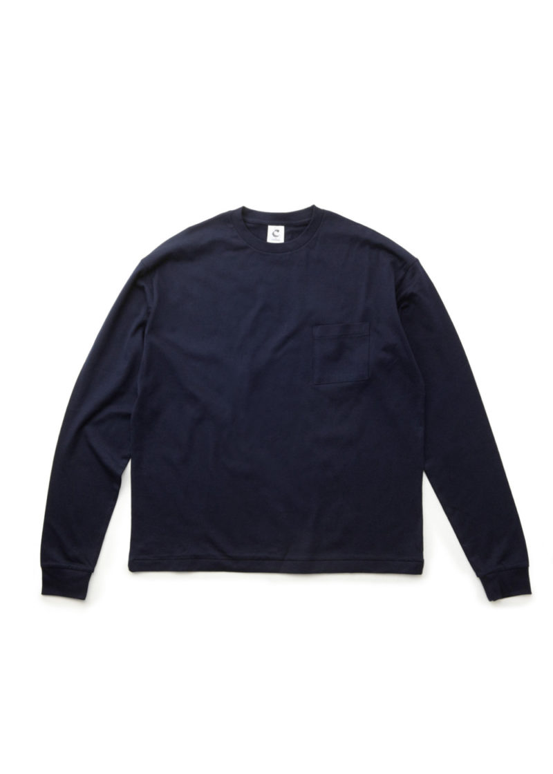 C-by-COMMON-Crew-neck-ling-sleeve-T-shirts-Navy-01