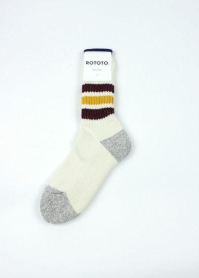 Rototo-Coarse-Ribbed-Oldschool-socks-Bordeaux-Yellow-01