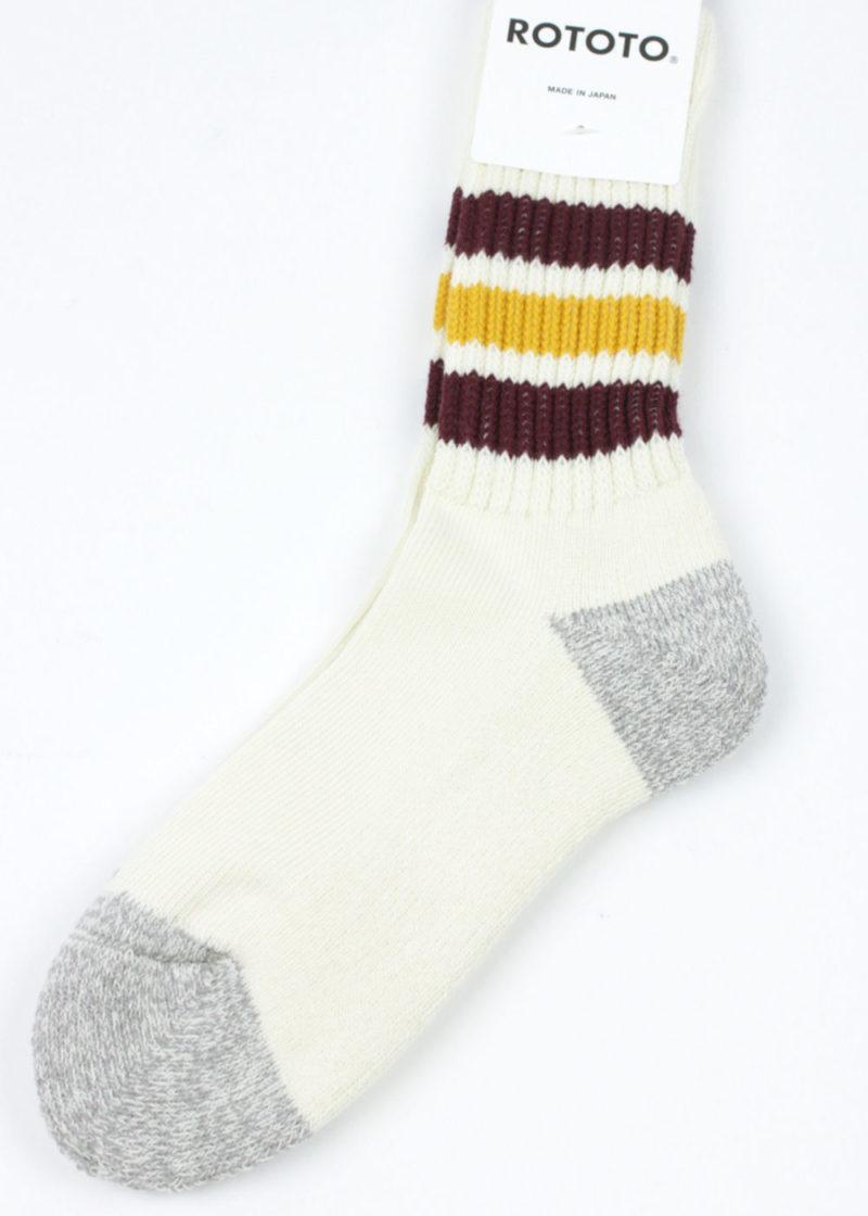 Rototo-Coarse-Ribbed-Oldschool-socks-Bordeaux-Yellow-02