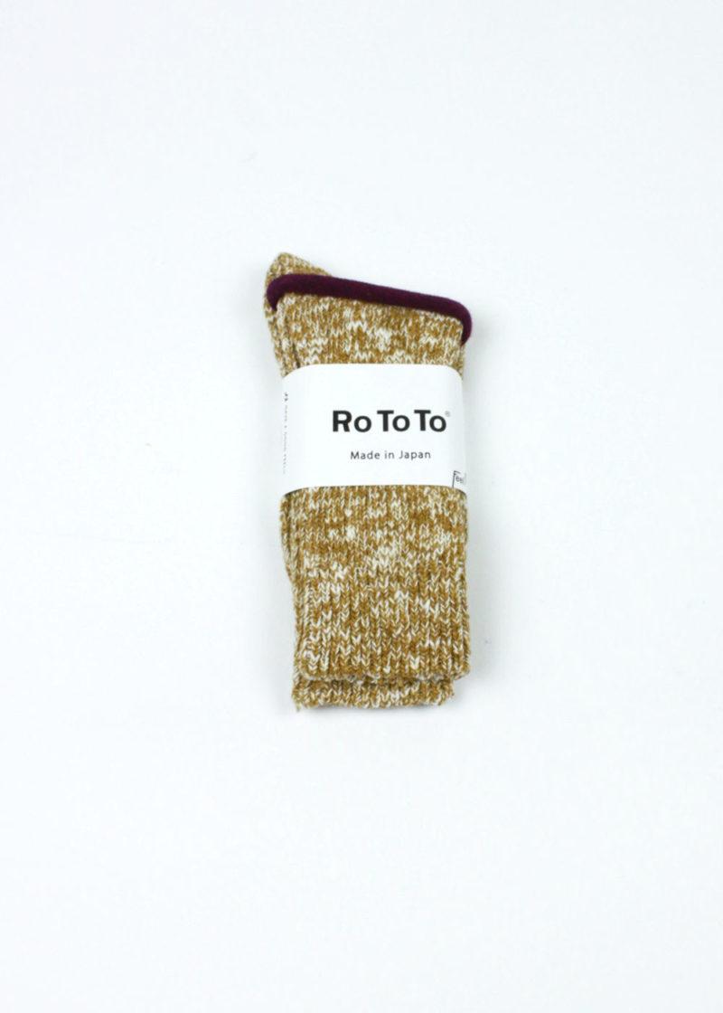 Rototo-Low-Gauge-Slub-Crew-Socks-Mustard-01