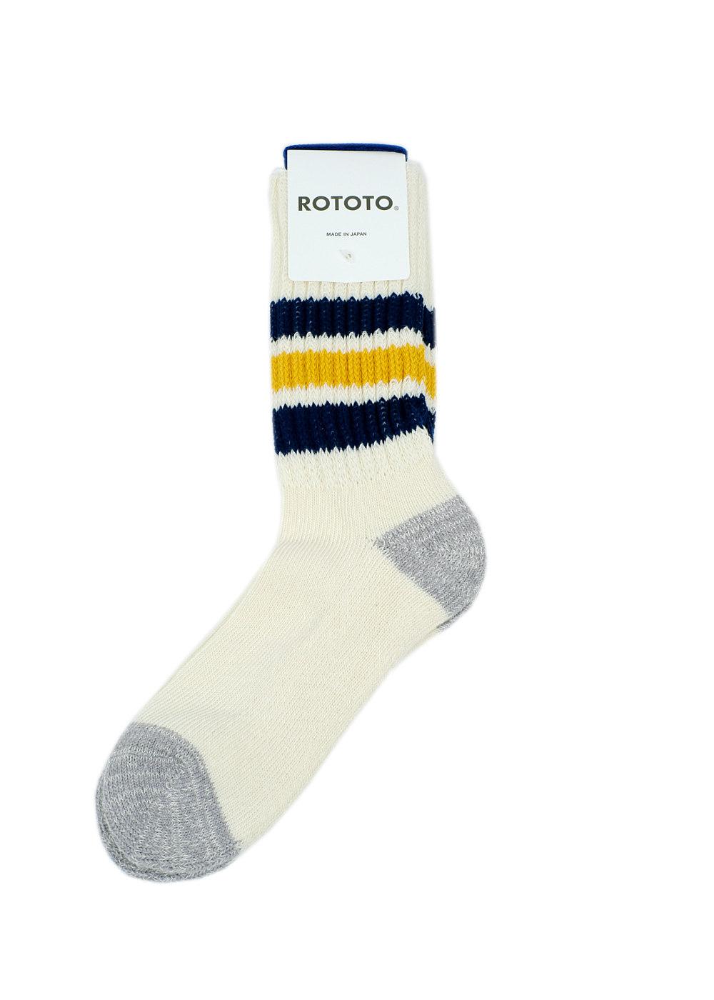 Rototo-coarse-ribbed-oldschool-socks-NavyYellow-01
