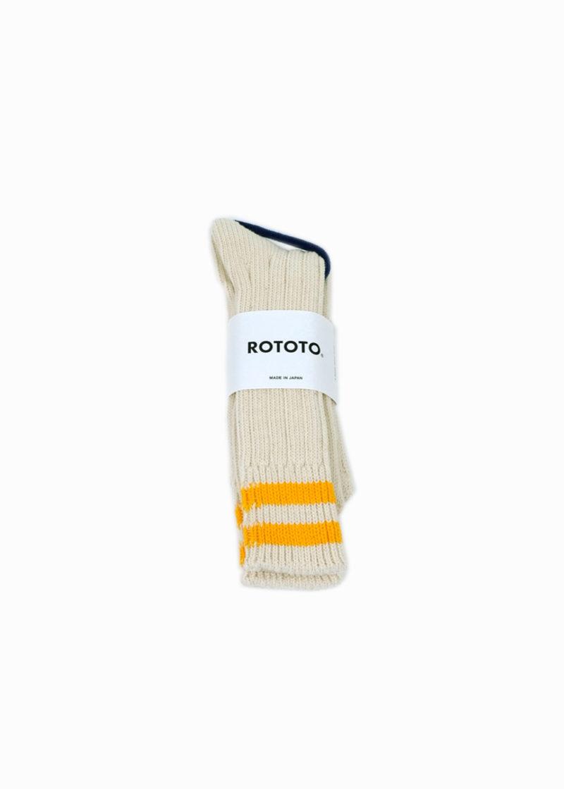 Rototo-LowRawSocks-2 Stripes-Ecru-D.yellow1