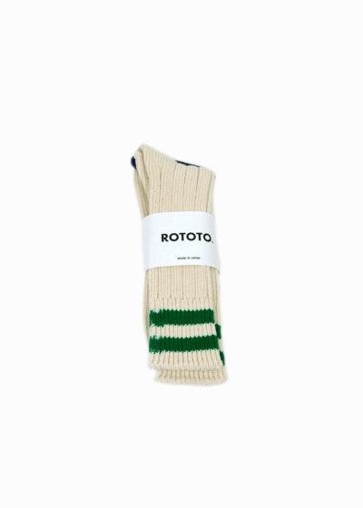 Rototo-LowRawSocks-2 Stripes-Ecru-M.Green1